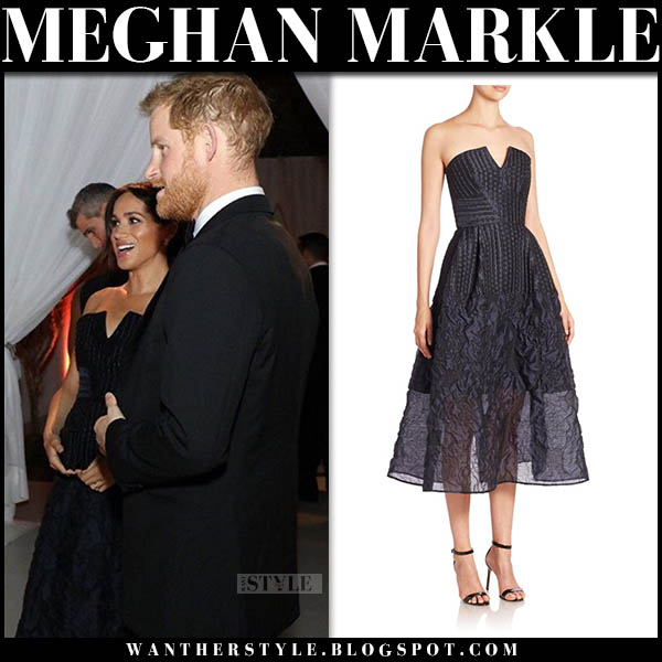 Meghan Markle in dark navy strapless midi dress roland mouret royal family fashion november 15