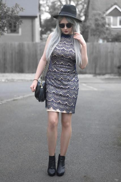 Sammi Jackson - Black Primark Fedora / Zaful Sunglasses / Ever Pretty Dress / Everything5pounds Tassel Bag / Office Chunky Ankle Boots