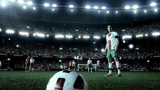 cristiano ronaldo, homem, estádio, futebol, bola, nike, anúncio