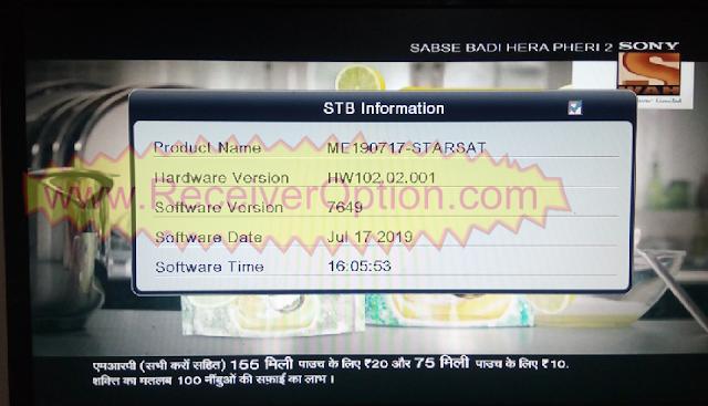STARSAT ALI3510C HW102.02.001 TEN SPORTS OK NEW UPDATE