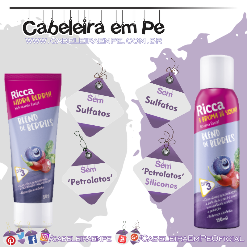 Hidratante e Bruma Facial Blend De Berries  - Ricca
