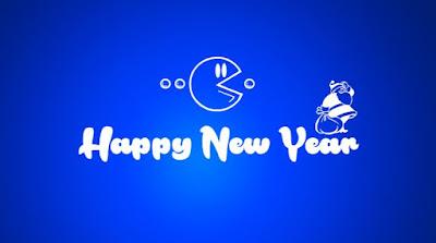 Gambar Ucapan Tahun Baru 2017 Kartun Lucu Happy New Year Wallpaper HD Biru