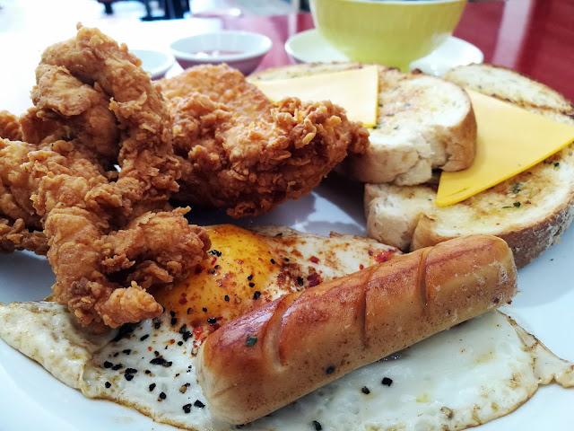 kings breakfast set chicken tenders sausage egg sangwich salad