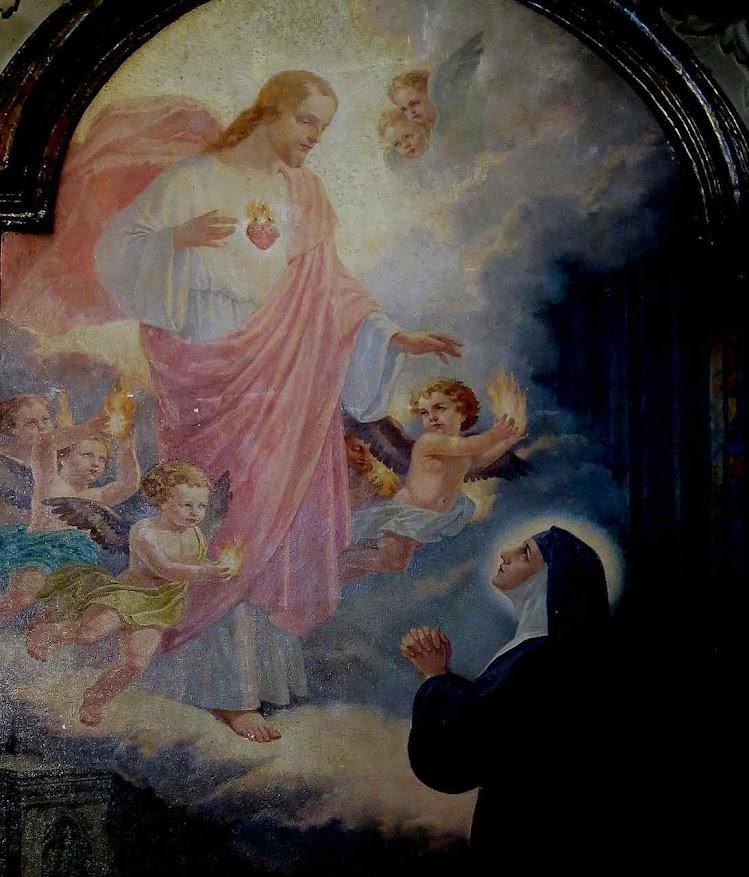 Santa Margarida Maria Alacoque recebe apelos do Sagrado Coração de Jesus a Luís XIV, San Rufo, Rieti, detalhe