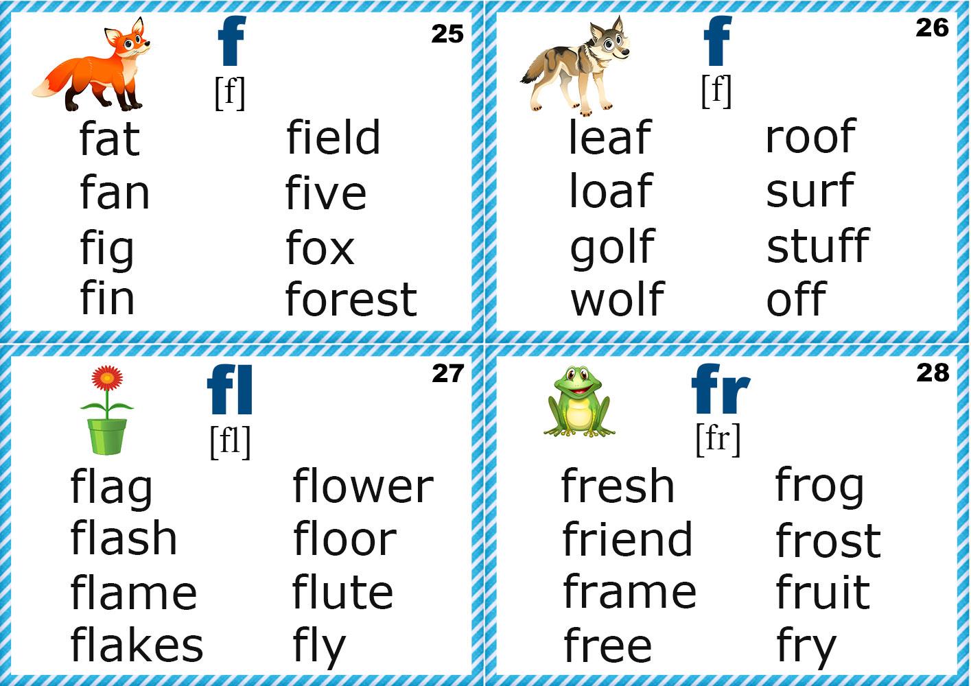 Phonics Flashcards Consonants Bb Cc And Ff