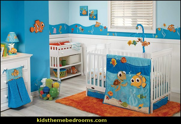 Disney Finding Nemo Crib Bedding  under the sea baby bedroom decorating ideas - ocean theme baby bedroom ideas - under the sea nursery decorating - under the sea wall murals - ocean wall decal stickers - fish theme - beach theme - mermaid theme ocean themed nursery girl