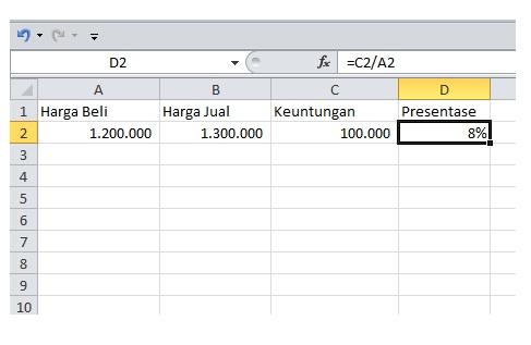 Cara Menghitung Persentase Keuntungan Di Excel