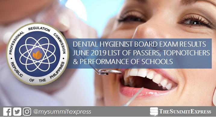 FULL RESULTS: June 2019 Dental Hygienist board exam list of passers, topnotchers