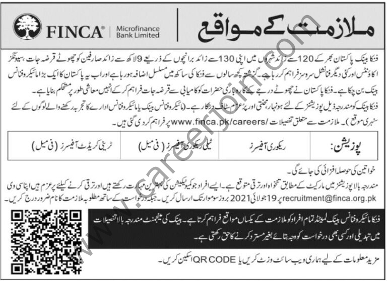 recruitment@finca.org.pk - FINCA Microfinance Bank Ltd Jobs 2021 in Pakistan