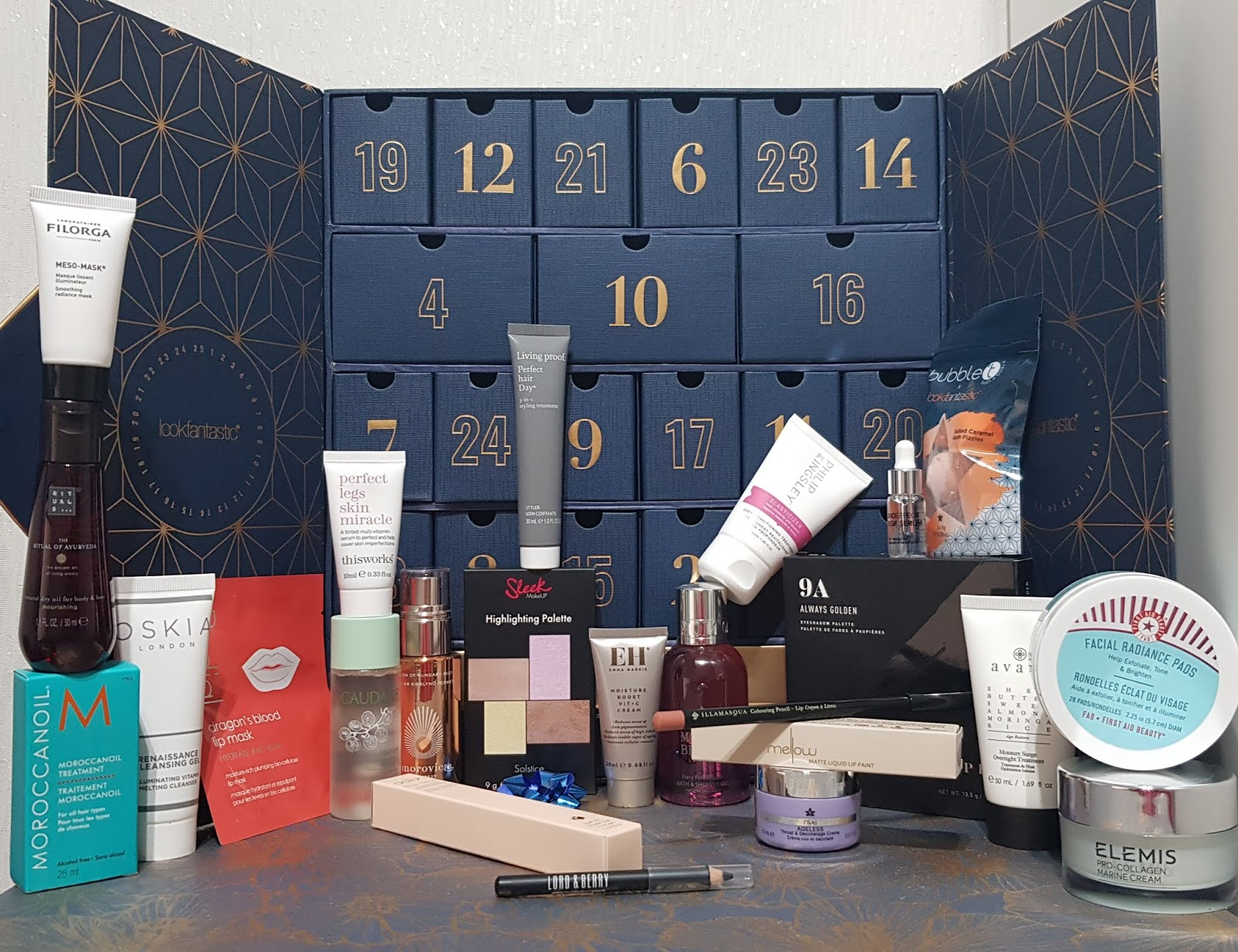 Many of the products from the 2019 Look Fantastic beauty Advent Calendar
