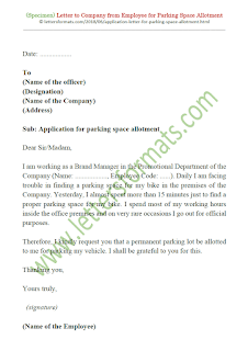 sample letter requesting for parking space