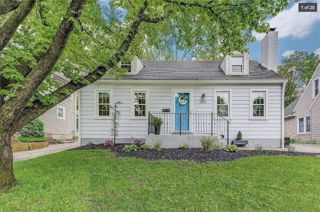 front view of white cape cod style house with turquoise blue door • 654 Oakland Ave, Webster Groves, Missouri 63119 • Sears Stanford model