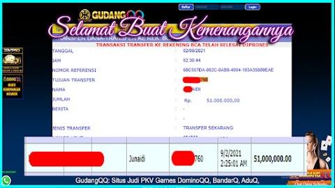 Selamat Kepada Member Setia GudangQQ WD sebesar Rp. 51.000.000.-