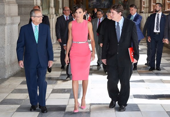 Queen Letizia wore a button detail stretch wool dress by Michael Kors.