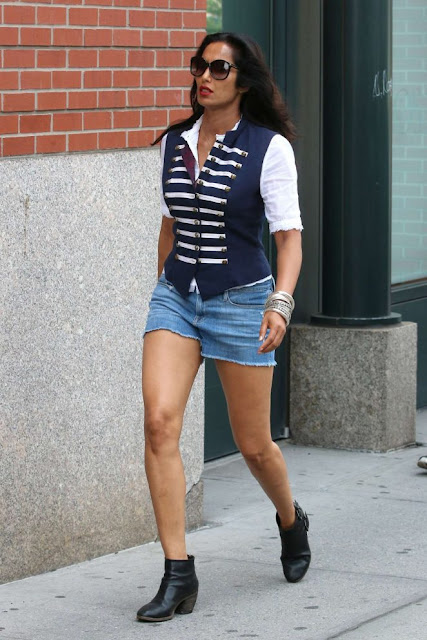 Padma Lakshmi in Jeans Shorts in New York