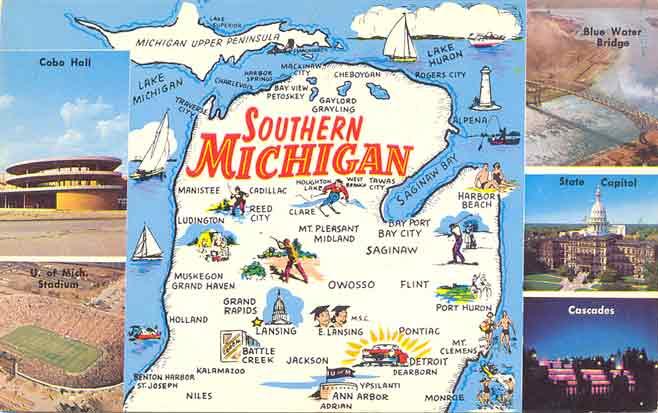 Postcard gems map southern michigan map southern michigan publicscrutiny Image collections