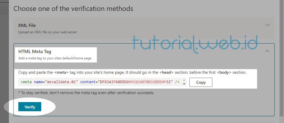 Cara Submit Blog Ke Bing 6 Pilih Verify