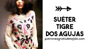 Suéter dos agujas con diseño de tigre   Moldes, patrones y explicación