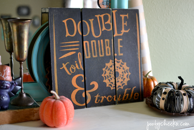 Halloween Mini Pallet Sign Tutorial - Double Double Toil & Trouble