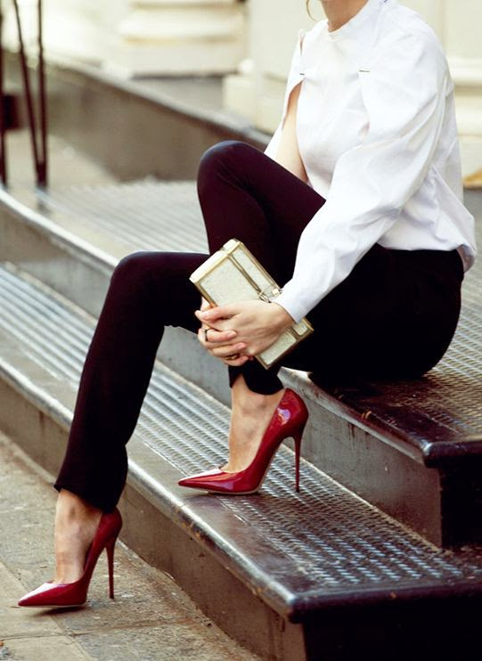 Black, white + bordeaux heels