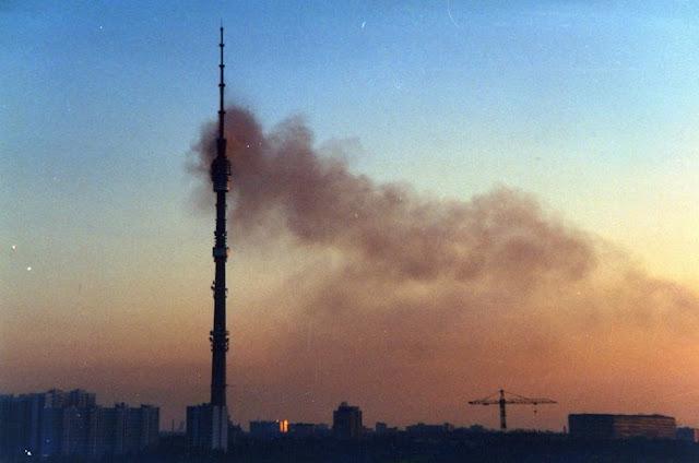 Пожар на Останкинской телевизионной башне - Иллюстрация с сайта 7info.ru