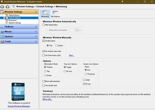 كيفية إرسال برامج Windows 10 إلى System Tray Actual Window Minimizer