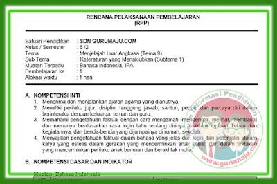 RPP Kelas 6 Tema 9 Kurikulum 2013 Revisi 2018