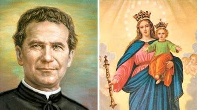 imagem de Dom Bosco e Nossa Senhora Auxiliadora
