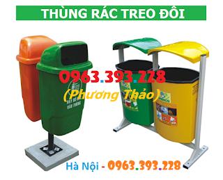 Thùng rác Composite treo đôi, thùng rác treo đôi 80L, thùng rác công nghiệp