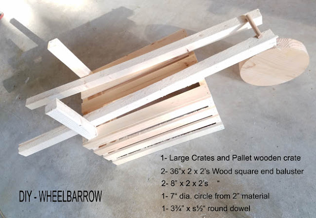 wood necessary to create a wheelbarrow - complete instructions