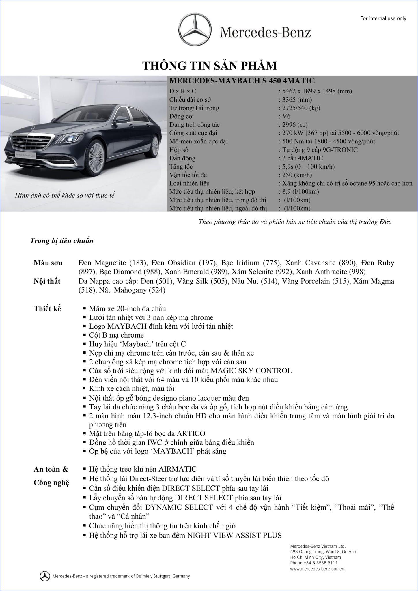 Bảng thông số kỹ thuật Mercedes Maybach S450 4MATIC 2019 tại Mercedes Trường Chinh
