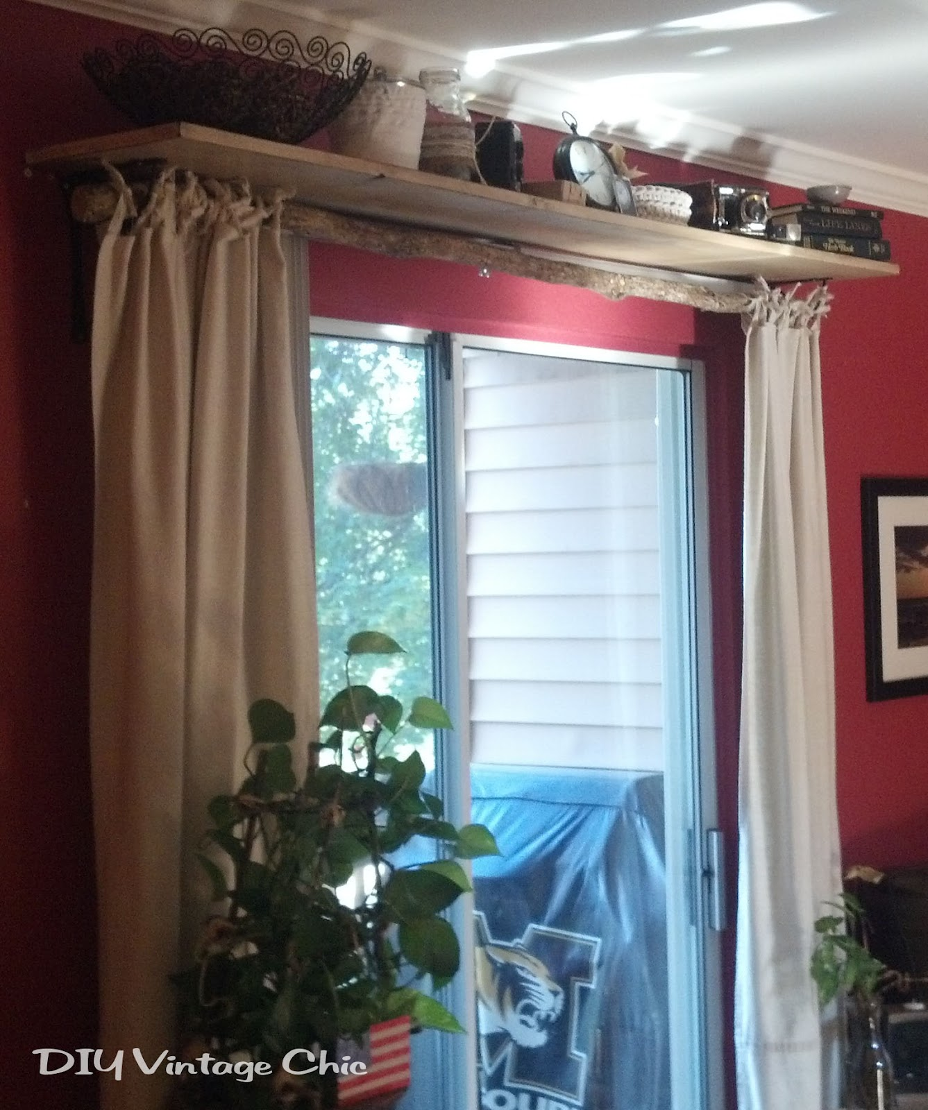 Learn How To Make No Sew Curtains And A Cute Display Shelf With Curtain Rod