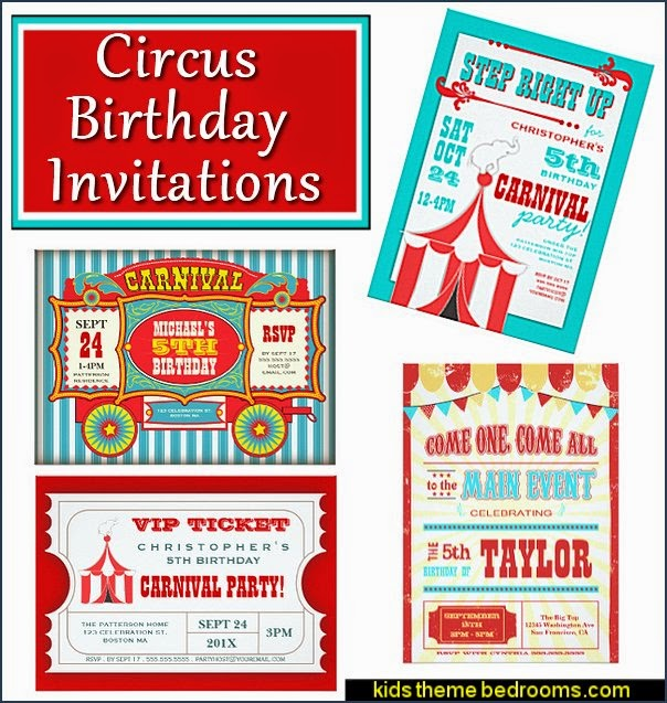 Circus Birthday Invitations   circus themed party decorations - carnival circus theme party decorations - circus carnival themed birthday party - Ice Cream theme decor -  circus party supplies - Circus Party Props - circus costumes
