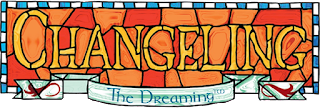 The Title Logo for Changeling: The Dreaming—the title rendered as a slightly whimsical stained glass panel