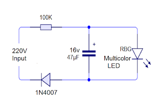 circuit diagram of how to run multicolor led on 220v