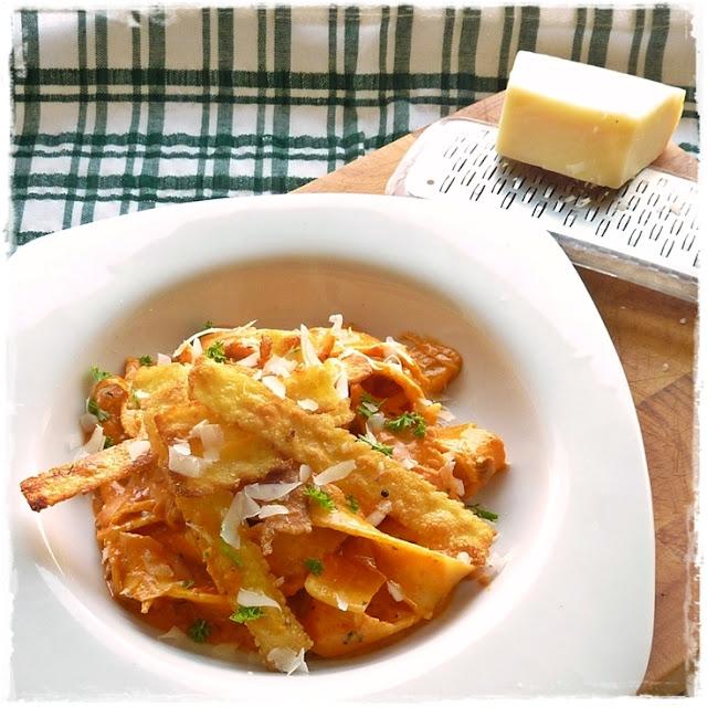 fried leftover pasta