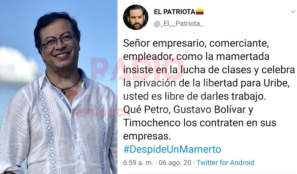 """@PetroGustavo solicita iniciar investigación de oficio a promotores de campaña #DespideUnMamerto que convoca """"El Patriota"""""""