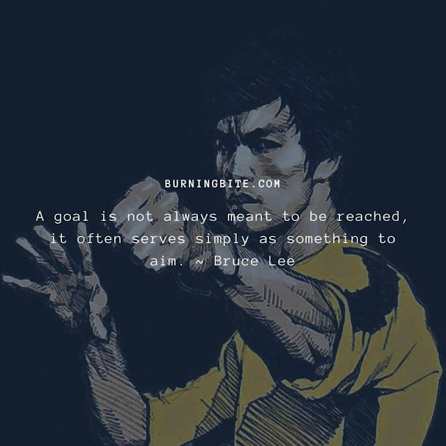 A goal is not always meant to be reached, it often serves simply as something to aim. ~ Bruce Lee