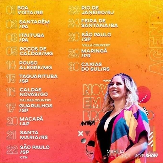 Agenda de Marília Mendonça - Novembro 2019
