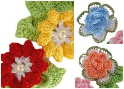 Flores crochet especial motivos apliques