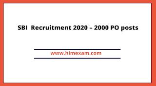 SBI  Recruitment 2020 – 2000 PO posts