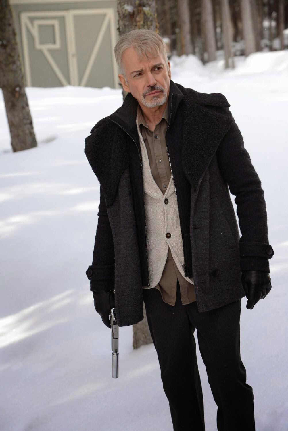 Billy Bob Thornton as silver haired goatee wearing Lorne Malvo in Fargo Season 1 Finale Episode 10 Morton's Fork