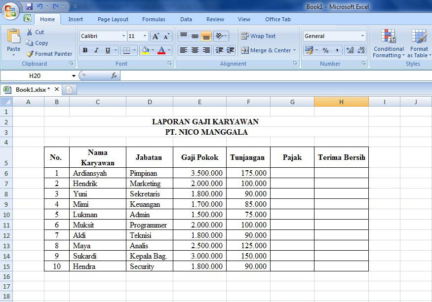 Cara Menggunakan Rumus Microsoft Excel Dalam Membuat Laporan Gaji Karyawan Download Gratis Tutorial Belajar Microsoft Excel Word Powerpoint