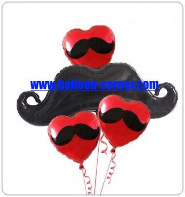 Balon Foil Hati Kumis & Balon Foil Kumis Besar