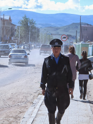 Local police in Murun, the provincial capital of Khovsgol Aimag, Mongolia