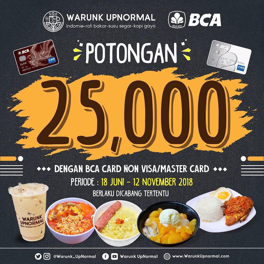 WarunkUpnormal - Promo Diskon 25 Ribu + Diskon 10 Ribu Pakai BCA Card
