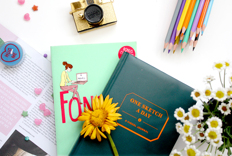 drawing journal lifestyle flatlay