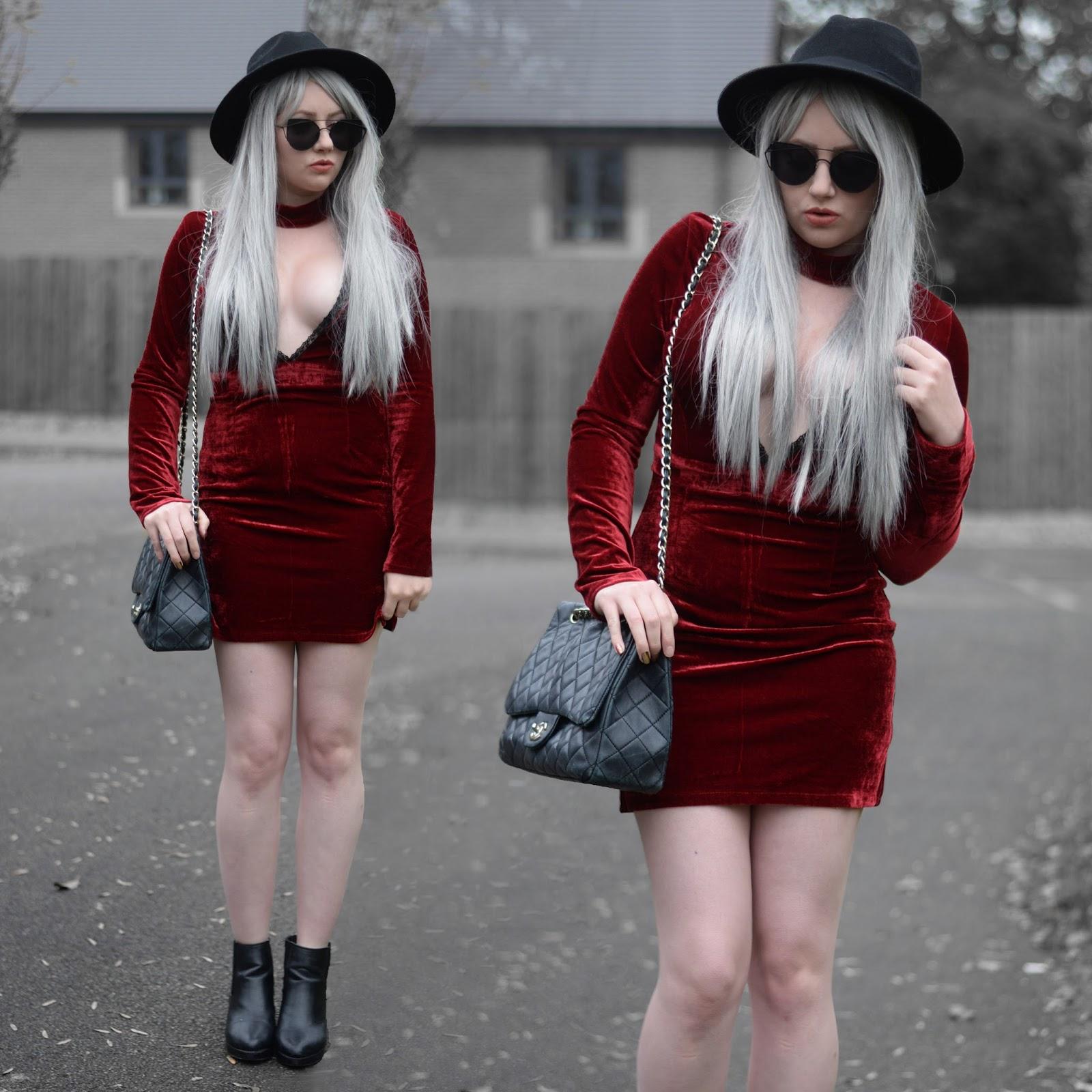 e4423dbfed03b Sammi Jackson - Irisie Burgundy Wine Red Choker Plunge Neck Bodycon Velvet  Lace Dress