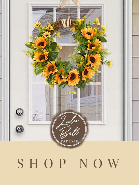 Autumn Farmhouse Home Decor Collection - Sunflower Door Wreath with Leaves and Vines
