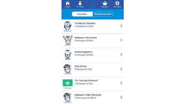 Aplikasi survei Jakpat